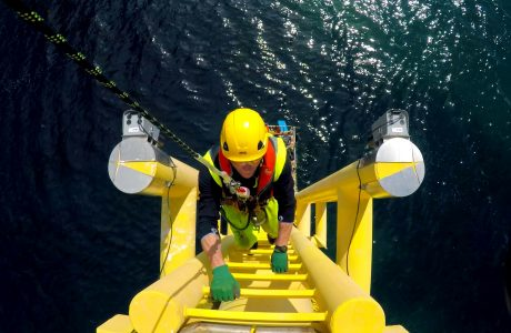 Offshore Wind Technician uses Limpet crew transfer system to access wind turbine | ORE Catapult