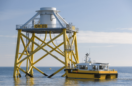 Jacket foundation at Ormonde Offshore Wind Farm