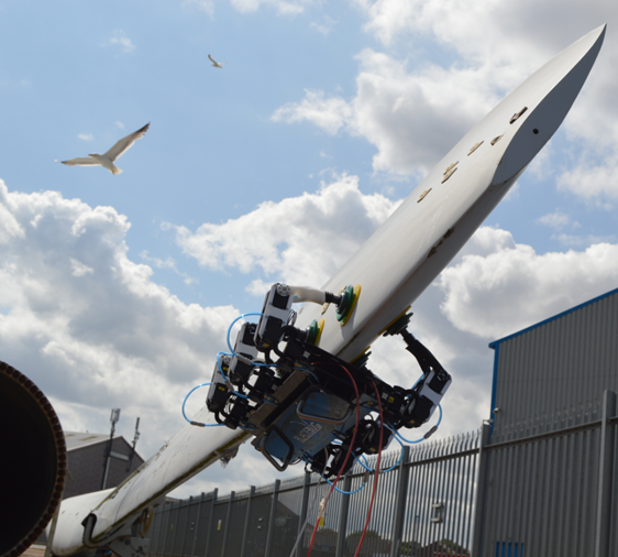 Bladebug's robotic inspection crawler in testing at the National Renewable Energy Centre in Blyth.